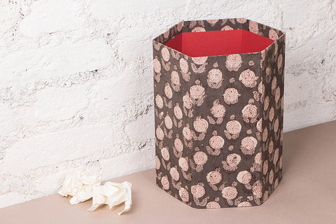 Block Printed Collapsible Waste Paper Bin by Sukriti (8.5 x 9.5 inches)