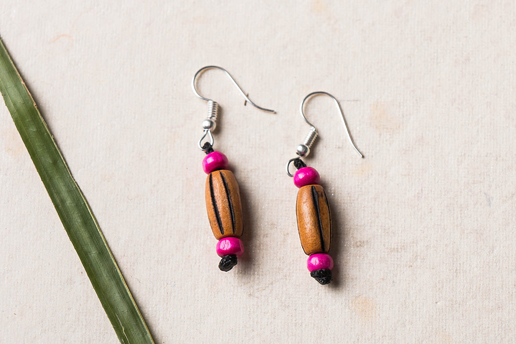 Hand Carved Bamboo Wooden Earrings