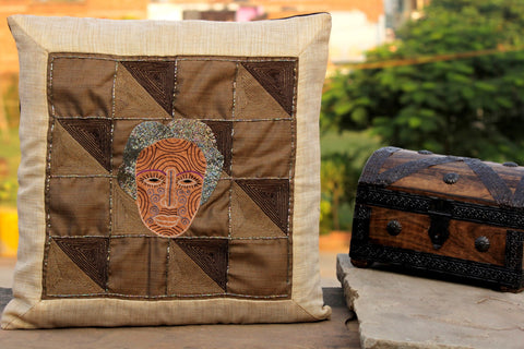 Special Print Beadwork Cushion Cover by Sutanu