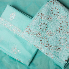 3pc Lucknow Chikankari Embroidered Gota Patti Cotton Suit Material