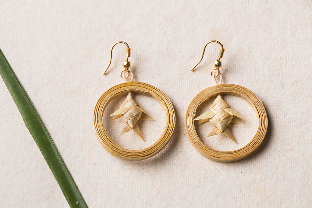 Bamboo Chhaal Braided Earrings