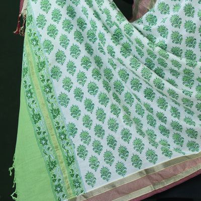 Sanganeri Hand Block Printed Pure Cotton Dupatta with Border & Tassels