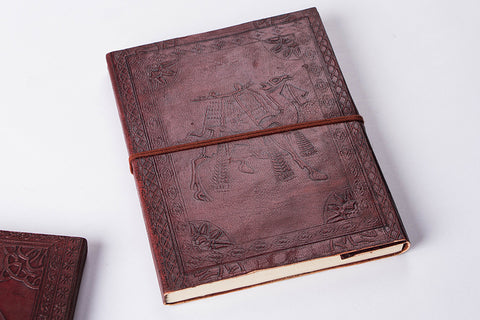 Leather Cover Handmade Paper Classic Notebook 9in x 7in