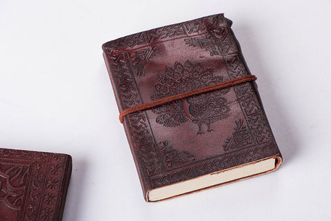 Leather Cover Handmade Paper Classic Notebook 5in x 3.5in