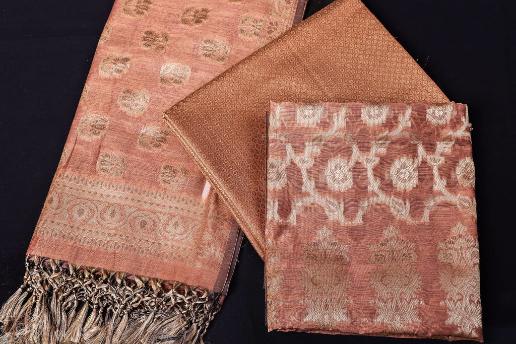 Banarasi Mercerized Cotton Jamawar 3pc Suit Material Set