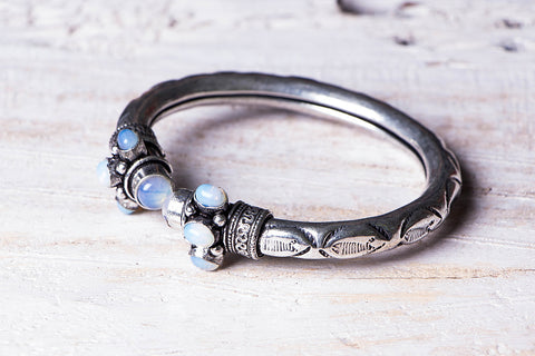 Antique Finish German Silver Bangle (Adjustable)
