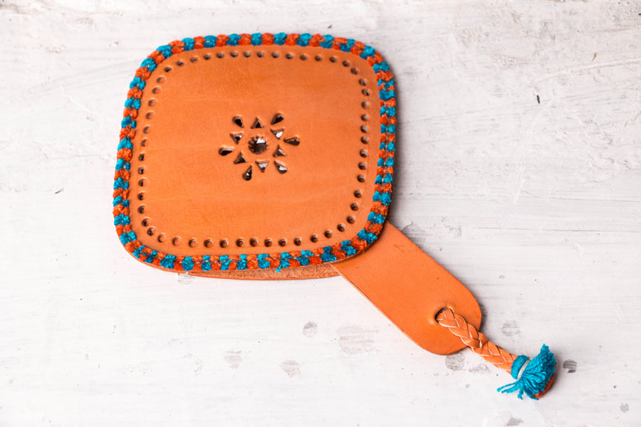 Handcrafted Kutch Leather Hand Mirror with Pouch