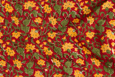 Sanganeri Gad Block Printed Cotton Fabric