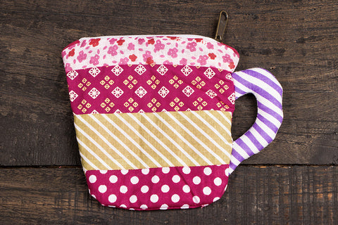 Patchwork Cotton Mug pouch - Small