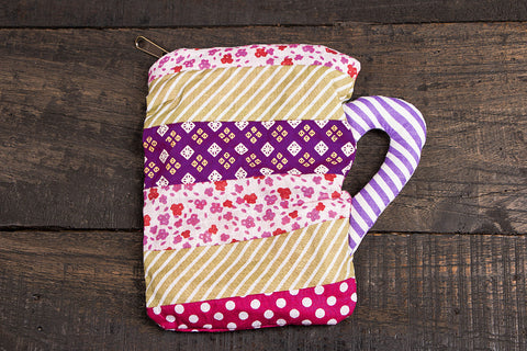 Patchwork Cotton Mug pouch - Big