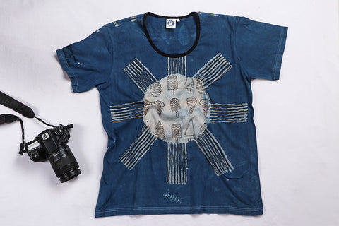 Block Art Prints Natural Dyed Cotton Women T-Shirt