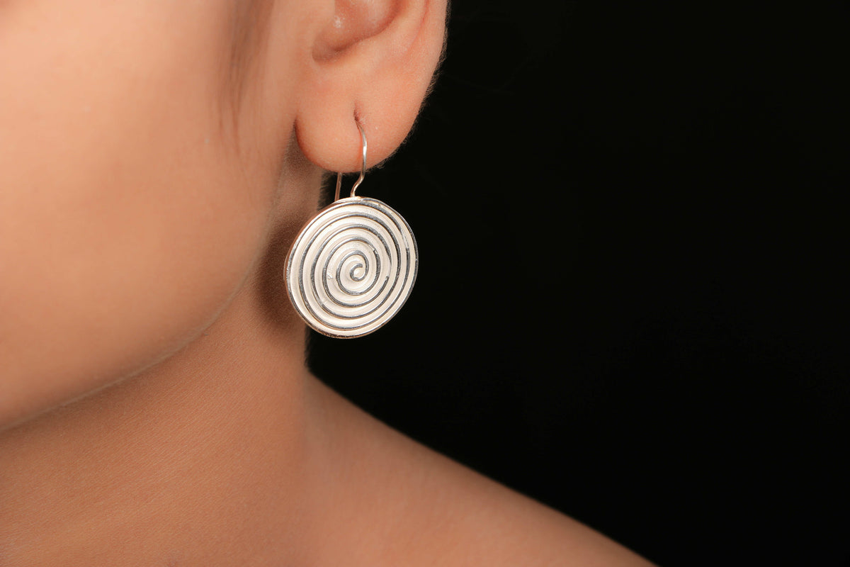 Sterling Silver Frosted Mat Earring