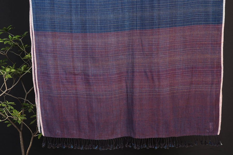 Indigo Tangaliya Handwoven Organic Kala Cotton Kutchhi Saree with Blouse