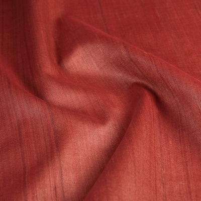Red - Handwoven Pure Desi Tussar Silk Fabric from Bhagalpur