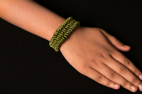 Blue Mango Woven Cuff With Metal