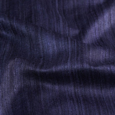 Dark Blue - Vidarbha Handloom Pure Tussar x Ghicha Silk Fabric