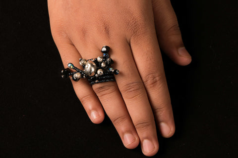 Blue Mango Cluster Ring (Adjustable)