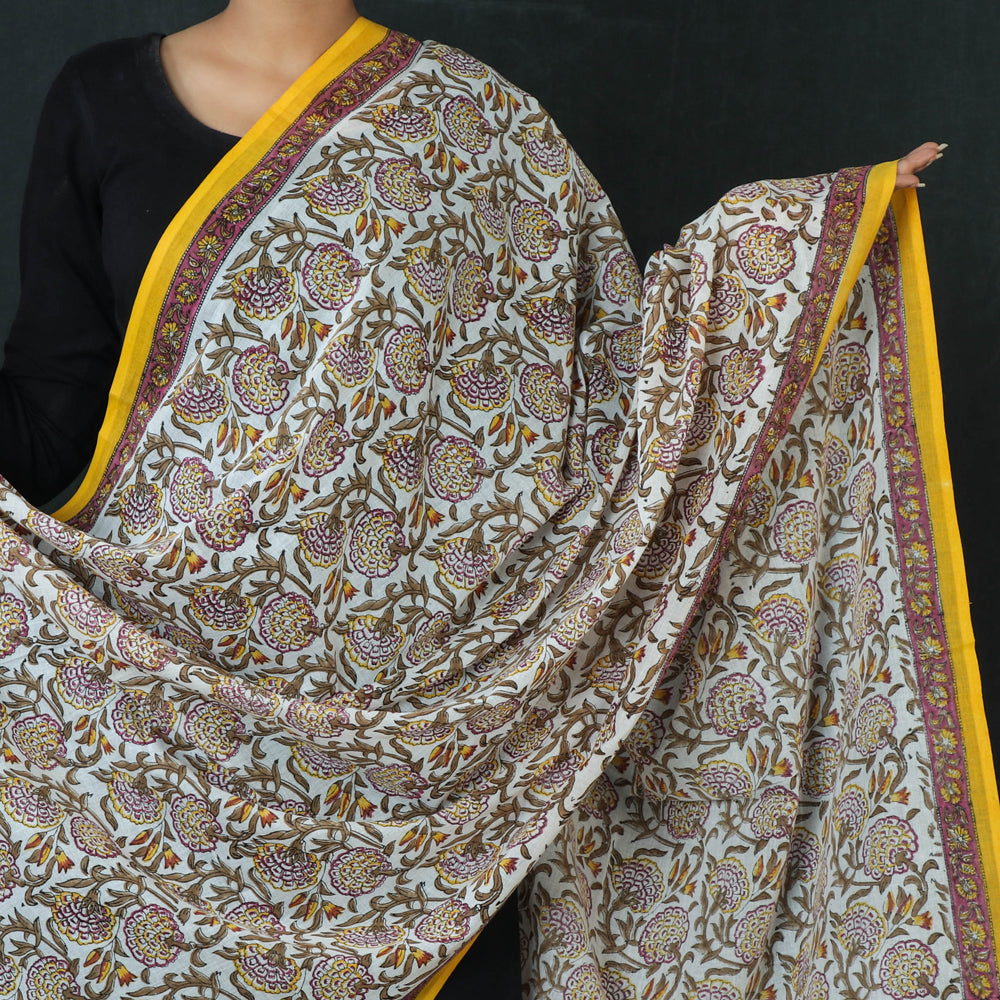 Sanganeri Hand Block Printed Pure Cotton Dupatta