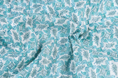 Sanganeri Hand Block Printed Cotton Leno Fabric