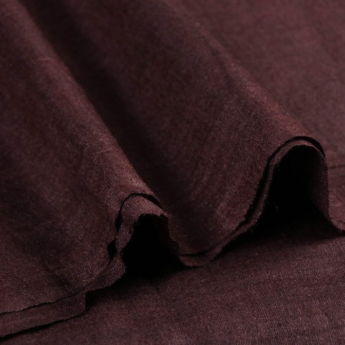 Brown - Vidarbha Handloom Pure Tussar x Katia Silk Fabric