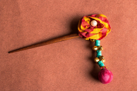 Handmade Wooden Guldasta Hair Stick