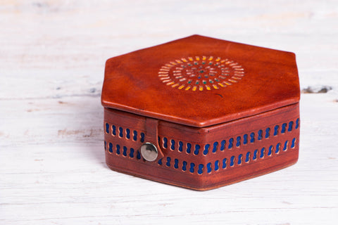 Handcrafted Kutch Leather Jewelry Box with Mirror - Small