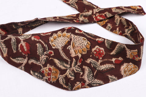 Bandana Head Wrap 3 Layer Kalamkari Block Print Natural Dyed Cotton Fabric Unisex Face Cover Free Size