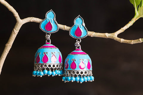 Antique Finish Ceramic German Silver Jhumki