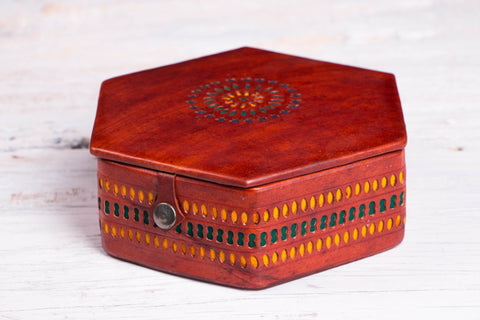 Handcrafted Kutch Leather Jewelry Box with Mirror - Medium