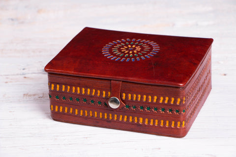 Handcrafted Kutch Leather Jewelry Box with Mirror - Big