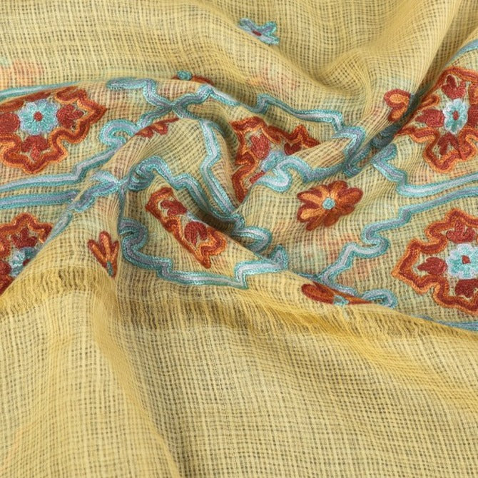 Handloom Kota Silk Kashidakari Hand Embroidery Dupatta with Zari Border