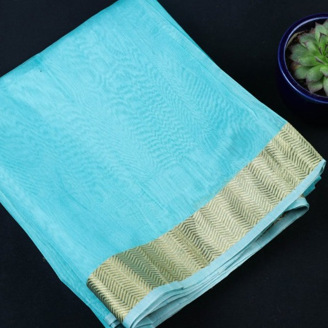 Chanderi Silk Nakshi Kinari Border Handloom Mercerized Precut Fabric