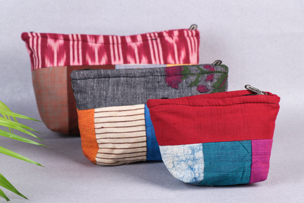 Assorted Patchwork 3 Piece Nested Toilet Pouch