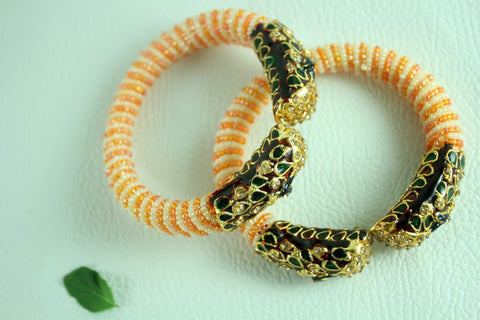 Jalpari Meenakari Pearl Bangle  (single piece)
