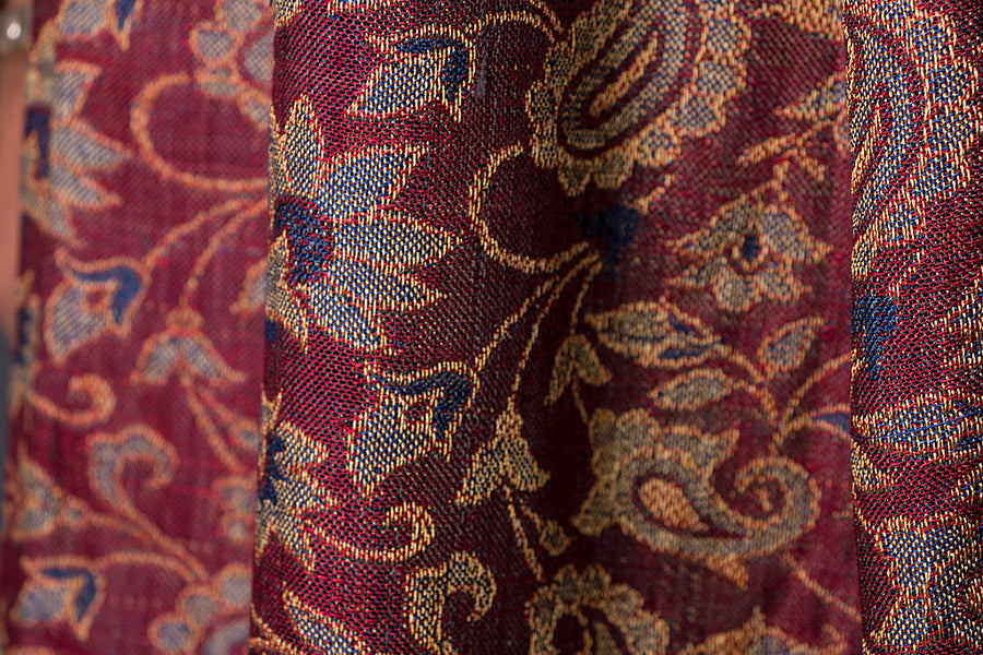 Himroo Handloom Jacquard Wool x Cotton Shawl
