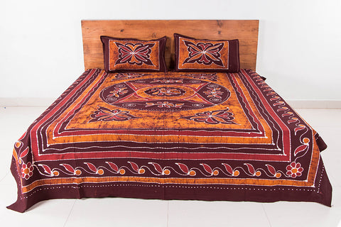 Special Hand Batik Printed Cotton Double Bedcover with Pillow Covers