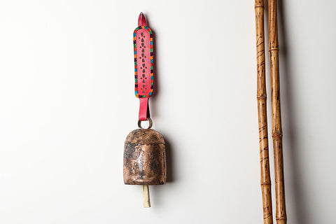 Kutch Copper Coated Bell with Leather Belt - Leaf (18 inches)