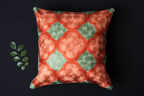 Original Crewel Silk Embroidered Cushion Cover (16in x 16in)