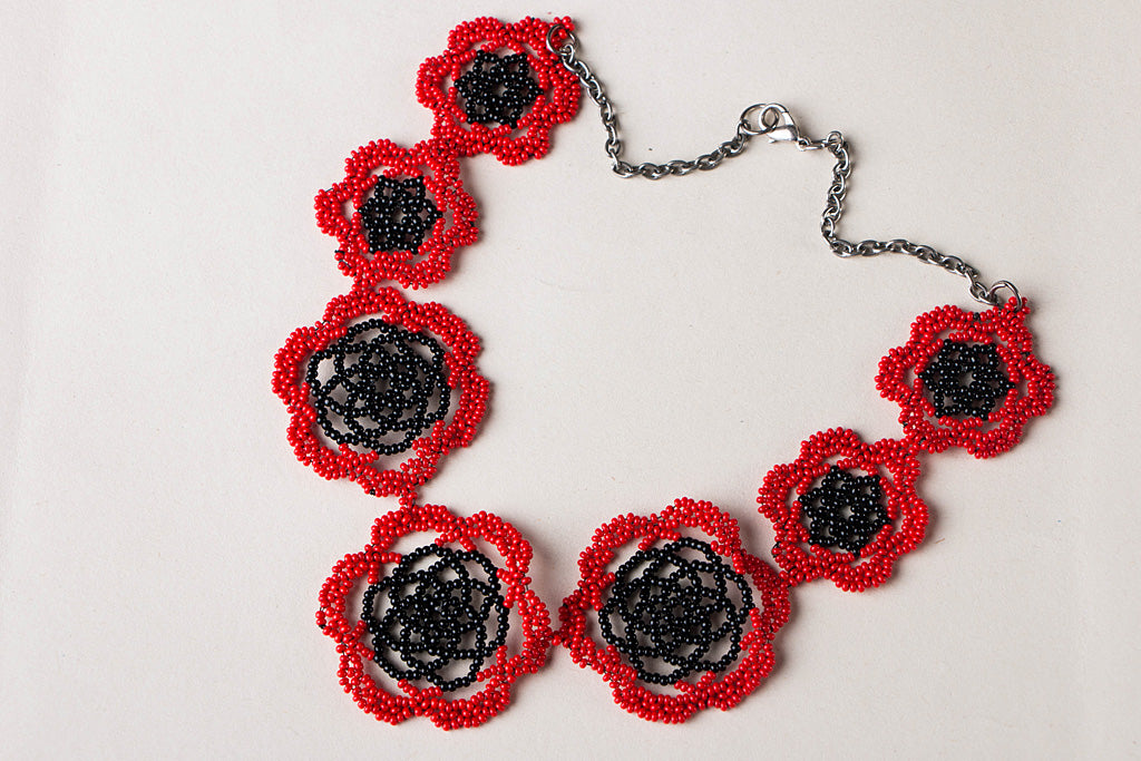 Hapur Beadwork Flower Necklace by Aagaz