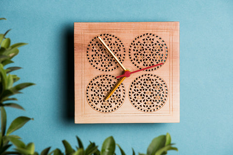Hand Carved Loquat Wood Wall Clock (5.2 x 5.2 inches)