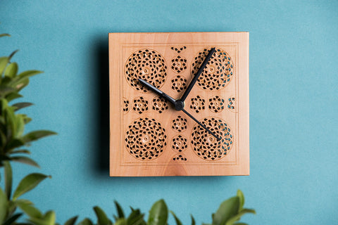 Hand Carved Loquat Wood Wall Clock (5.1 x 5.1 inches)