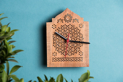 Hand Carved Loquat Wood Wall Clock (6.1 x 4.3 inches)