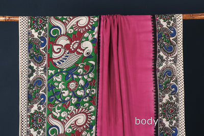 Kalamkari Printed Silk Cotton Plain Body Saree with Blouse