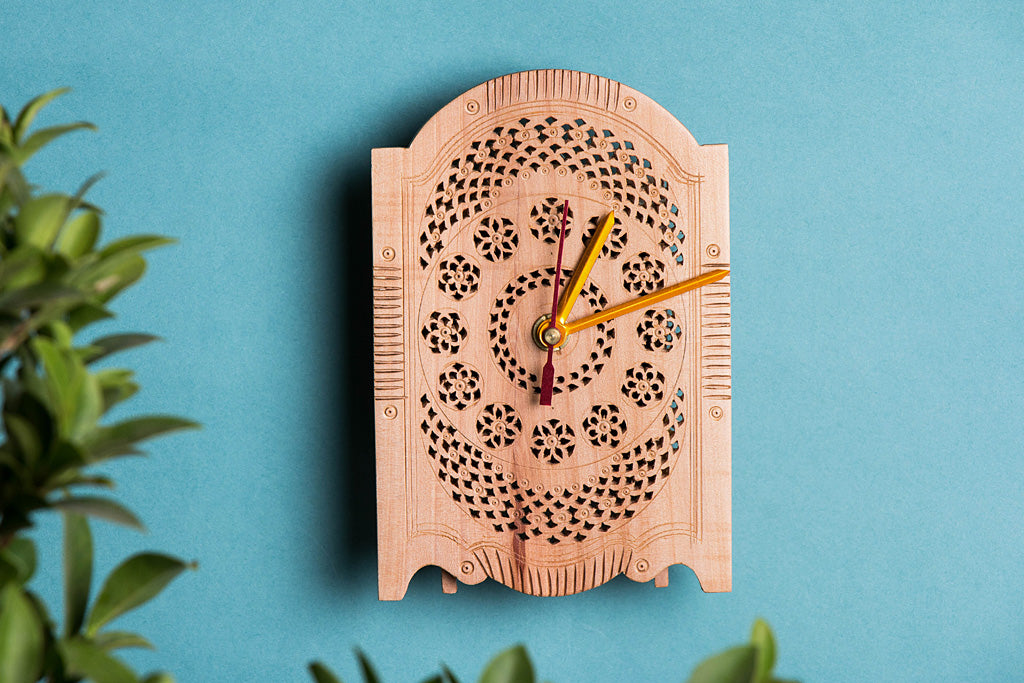 Hand Carved Loquat Wood Wall Clock (6.2 x 4.2 inches)