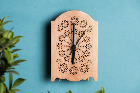 Hand Carved Loquat Wood Wall Clock (6.2 x 4.1 inches)