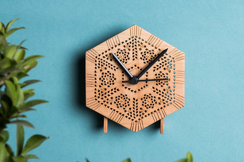 Hand Carved Loquat Wood Wall Clock (5 x 4.6 inches)