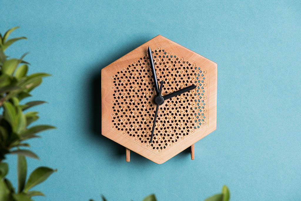 Hand Carved Loquat Wood Wall Clock (5 x 4.5 inches)