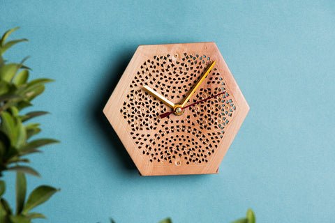 Hand Carved Loquat Wood Wall Clock (4.5 x 5 inches)