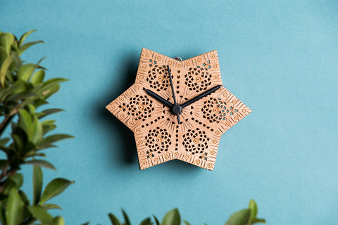 Hand Carved Loquat Wood Wall Clock (3.6 x 5.2 inches)