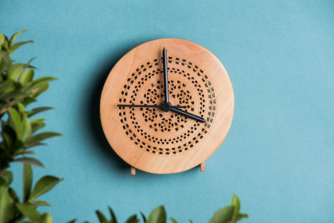 Hand Carved Loquat Wood Wall Clock (5 x 5 inches)